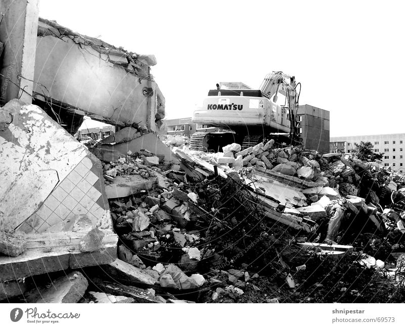 Summer Vacation & Travel Loneliness Sadness Grief Gloomy Leipzig Ruin Chaos Home country Excavator Heavy Stony Black & white photo Gray scale value Grünau