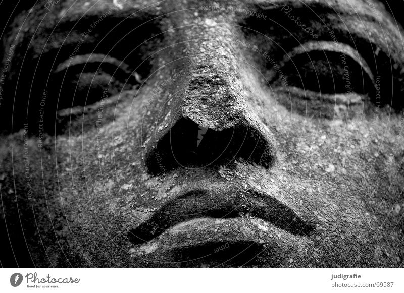 Calm Serene Physics Portrait photograph Sandstone Lime Sculpture Black White Crack & Rip & Tear Dry Face Eyes Nose Mouth Looking Goodness Fatigue Character