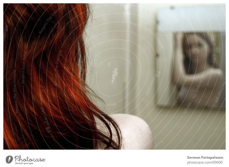 |||| emily ||||| 4814 ||||| Woman Naked Red Mirror Hair and hairstyles Feminine Emily Factory Drape Hair colour Rouge Bathroom Dream Mirror image Shoulder