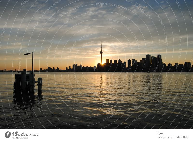 Toronto Skyline I Landscape Water Clouds Sunrise Sunset Sunlight Summer Beautiful weather Waves Coast River bank Ontario Lake Ontario Canada Town