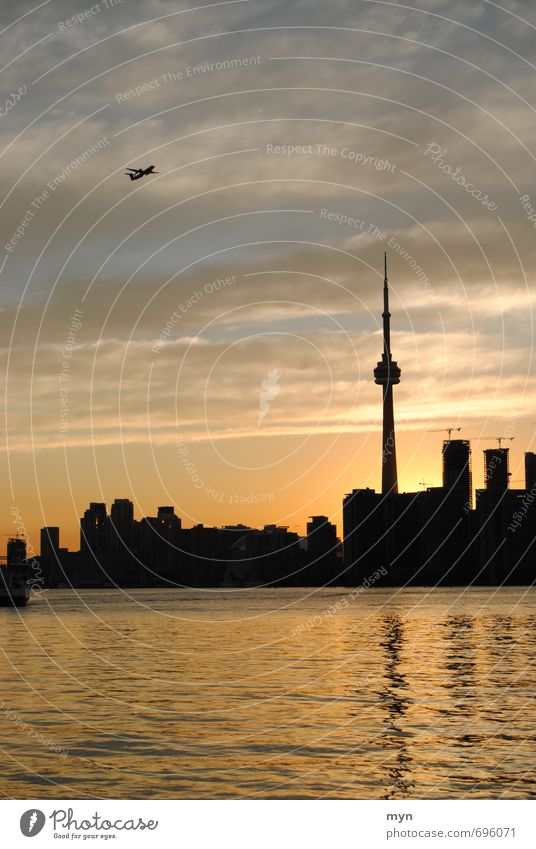 Toronto Skyline III Environment Water Clouds Sun Sunrise Sunset Sunlight Summer Beautiful weather Waves Lakeside Ontario Lake Ontario Canada North America Town