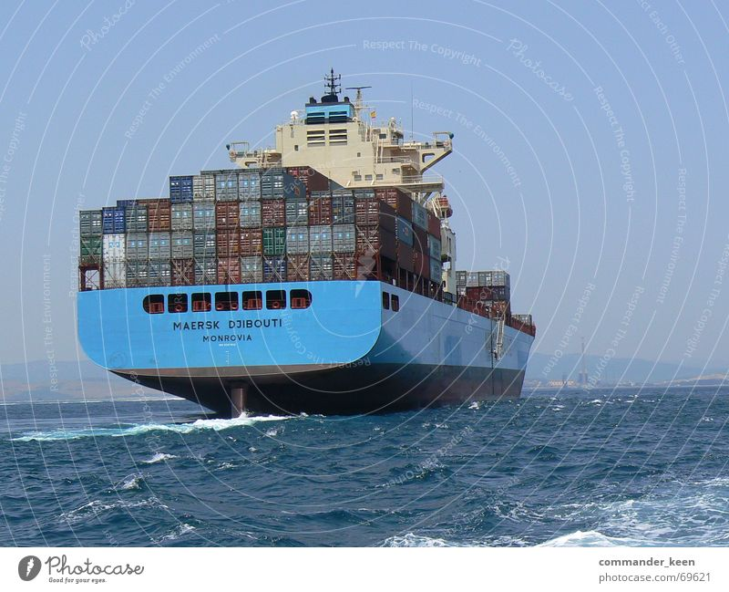 Gi- Gi- Gibraltar Watercraft Ocean Might Large Steel Exterior shot Container Goods Harbour Blue Gigantic tumultuous