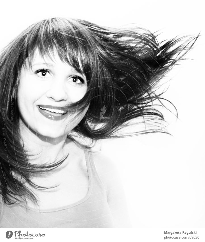 Woman Face Eyes Laughter Hair and hairstyles Happiness Swing Black & white photo