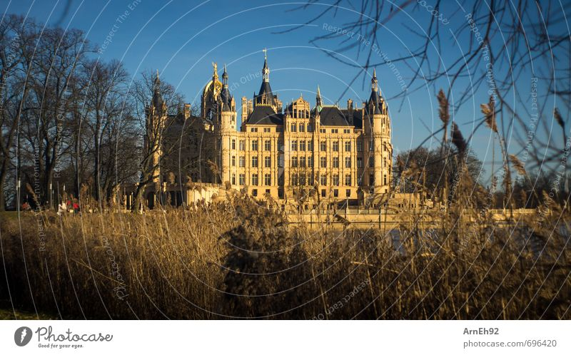 Schwerin Castle Sun Sunlight Spring Beautiful weather Town Capital city Downtown Tourist Attraction Monument Old Rich Warmth Blue Gold Orange Colour photo