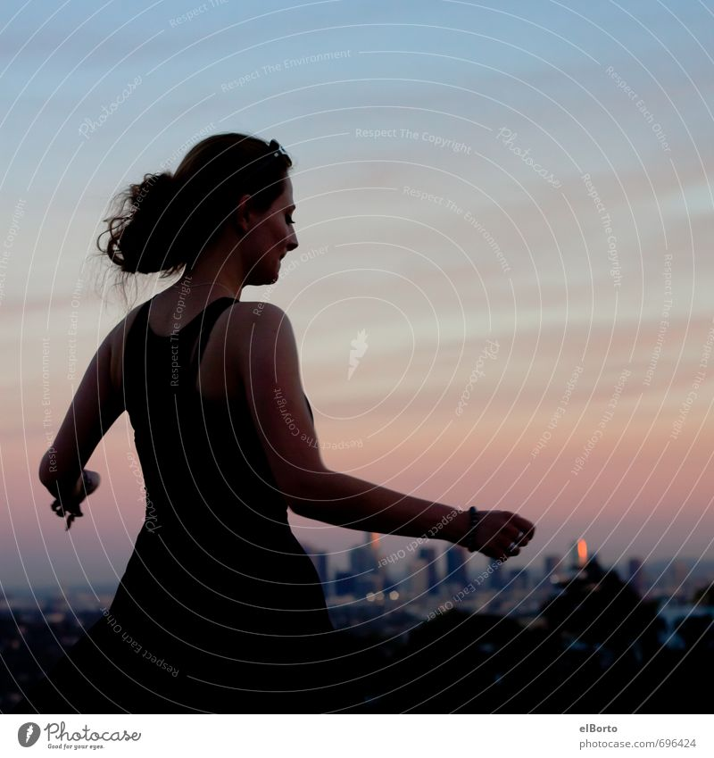 evening colours Joy Happy Well-being Far-off places Dance Human being Feminine Young woman Youth (Young adults) Woman Adults Body Back Arm 1 18 - 30 years Sky