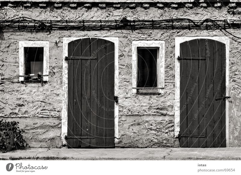 two doors, two windows Calm House (Residential Structure) Door Window Wall (building) Plaster Architecture Detail Peace Black & white photo B/W B&W Hut symmetry