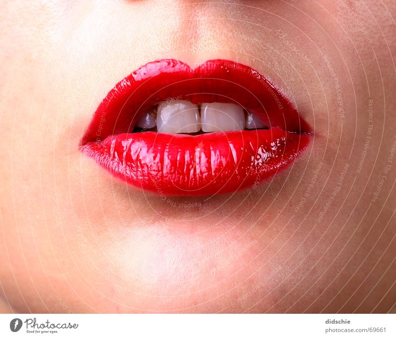 Glossy Red Lips Lascivious lipstick red red mouth Teeth