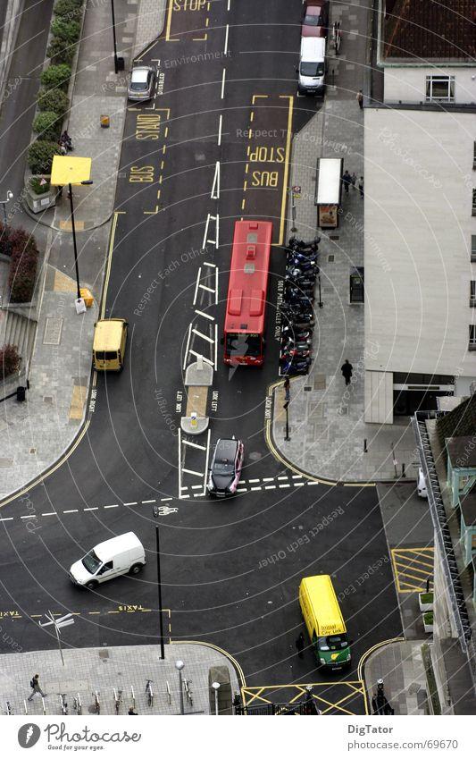Crossing in London Bird's-eye view Double-decker bus Town Street Mixture little traffic