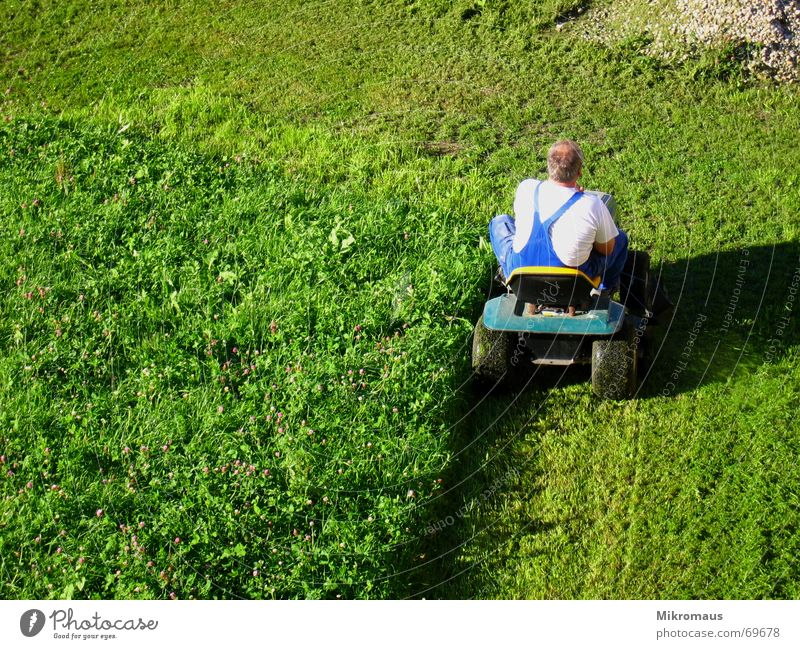 Man Green Summer Meadow Work and employment Lawn Agriculture Services Cut Crash Working clothes Gardening equipment Evening sun Lawnmower Working in the fields