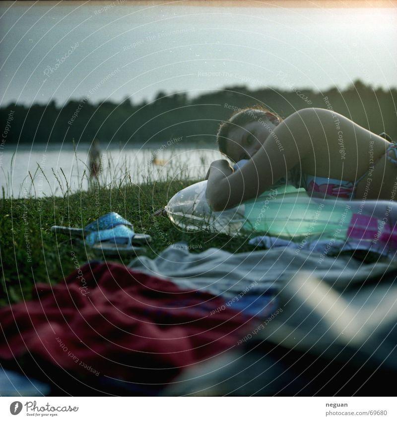 chill on sea Air mattress Clothing Woman Think Dream Relaxation Calm Serene Lake Summer Medium format Human being grass Lie