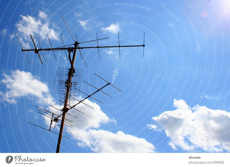Sky Clouds Roof Connection Electricity pylon Antenna Welcome Broacaster
