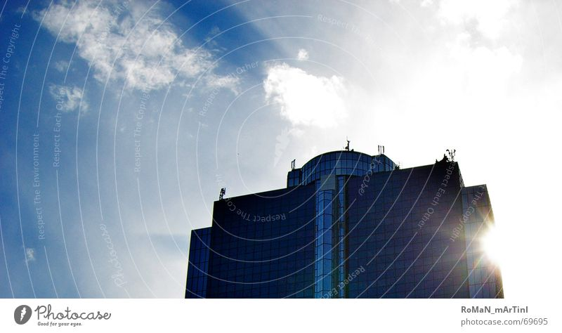 Sky Blue City Summer Clouds Building High-rise Might Frankfurt Management