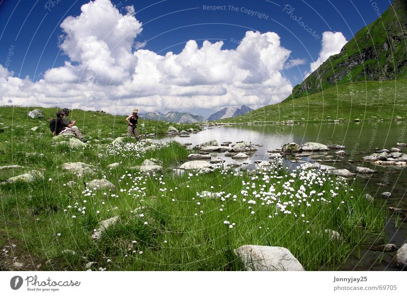 Water Sky Green Blue Summer Vacation & Travel Calm Clouds Relaxation Meadow Mountain Lake Break Austria Mountain lake