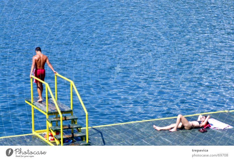 Water Blue Summer Beach Jump Lake Swimming & Bathing Swimwear