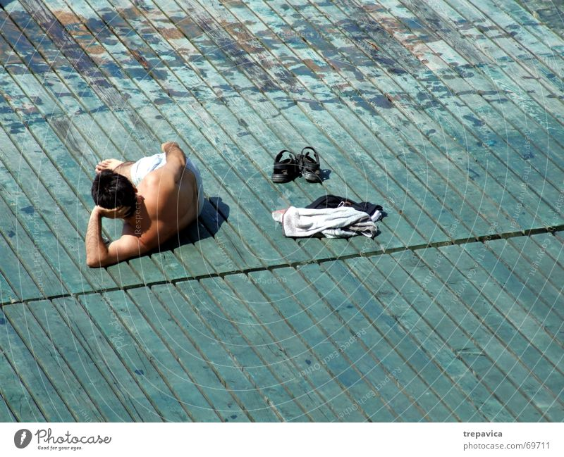 Man Summer Loneliness Relaxation To enjoy Sunbathing