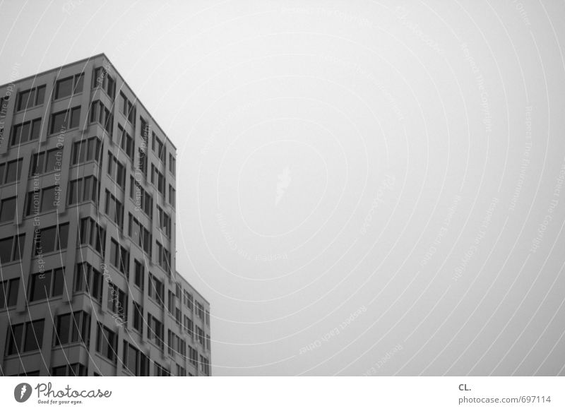 Sky City Clouds House (Residential Structure) Window Sadness Architecture Building Gray Work and employment Facade Fog Office Gloomy High-rise