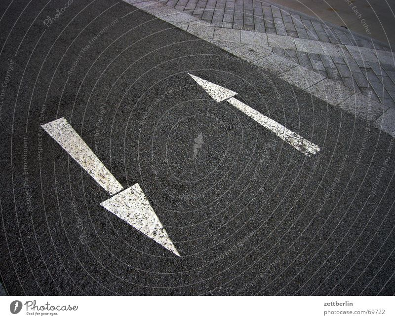 arrows Right Left Sidewalk Cycle path Gray White Dog Arrow Crazy Signs and labeling Street Paving stone
