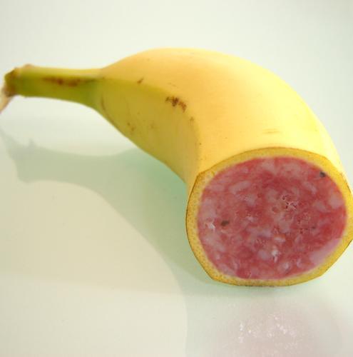 Red Yellow Nutrition Food Fruit Sweet To enjoy Genetics Fat Meat Swine Sausage Banana Tropical fruits Sense of taste Processed
