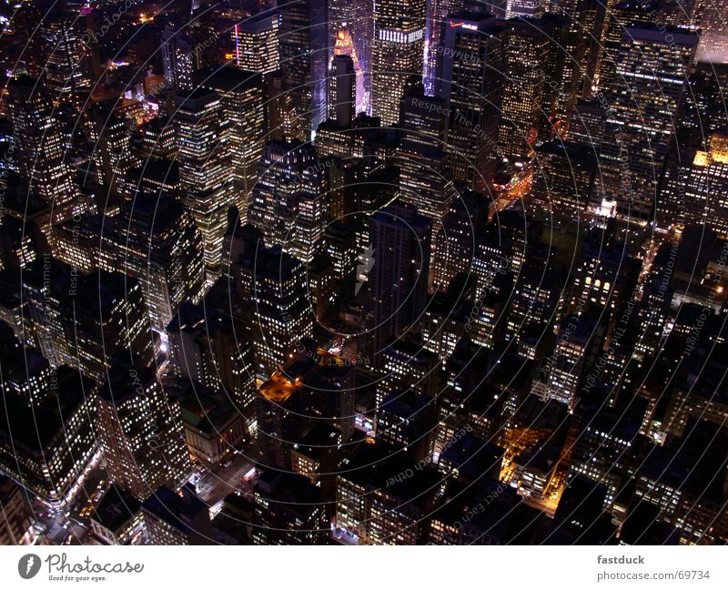 Lifelines in New York Downtown Empire State building New York City Manhattan Night Long exposure High-rise Times Square uptown USA Light