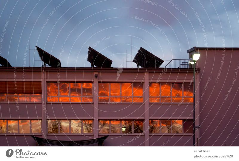 Clouds House (Residential Structure) Window Architecture Building Facade Orange Climate Beautiful weather Factory Manmade structures Solar Power Solar cell