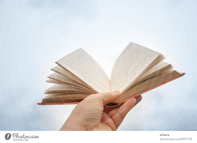 Open book Woman Sky Blue White Heaven Hand Clouds Adults Bright School Orange Photography Book Table Paper