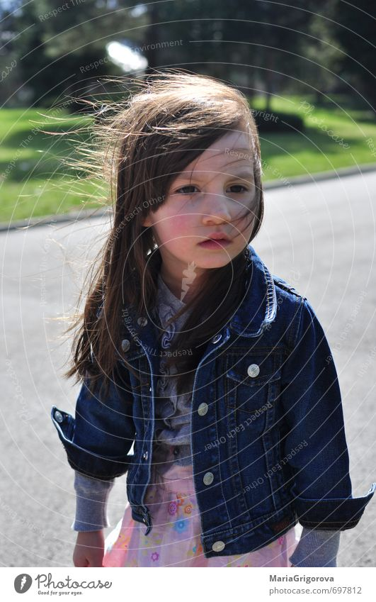 Little spring girl in the park Human being Child Nature City Beautiful Sun Girl Spring Hair and hairstyles Think Happy Natural Park Body Elegant Infancy