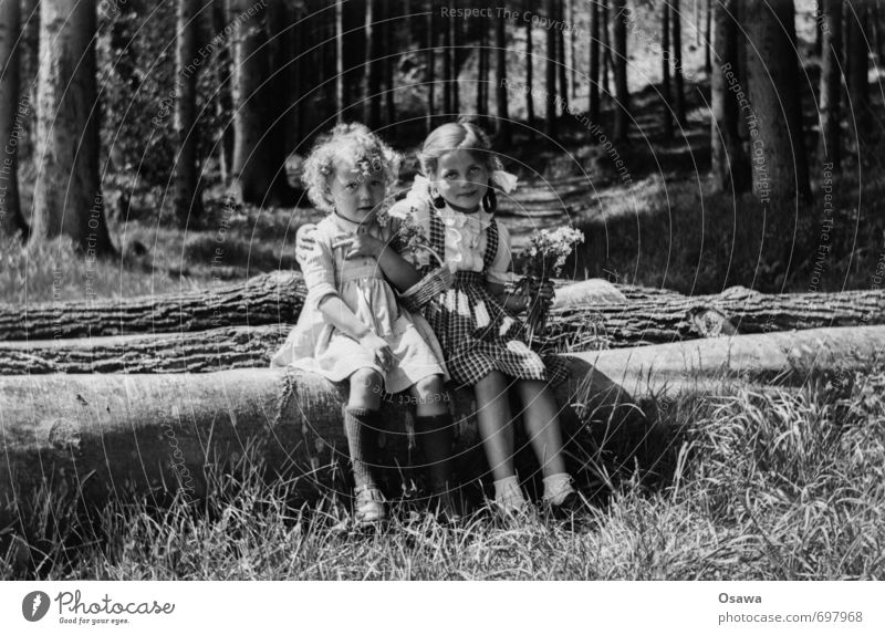 Human being Child Nature Summer Sun Tree Landscape Girl Forest Environment Love Feminine Grass Happy Family & Relations Contentment