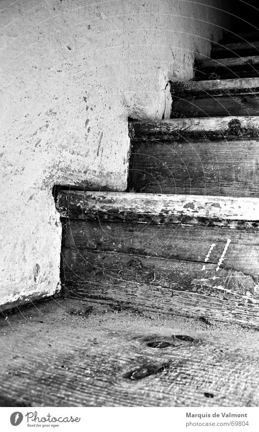 tower staircase Footstep Dirty Wood Wall (building) Plaster Lime White Black Steep Dark Light Stairs Ladder bridge boards Old Wooden board Tower Lanes & trails