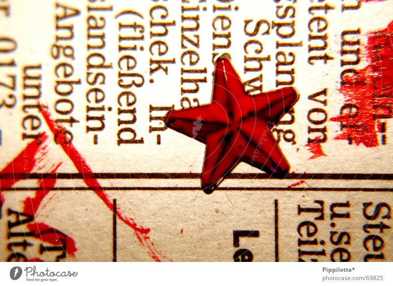Red Colour Line Characters Star (Symbol) Newspaper