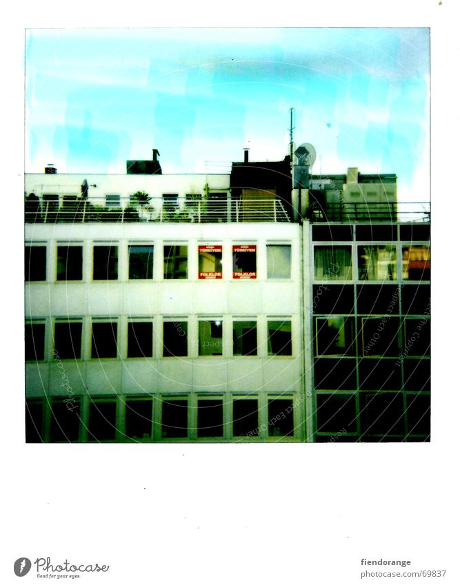 househeaven High-rise House (Residential Structure) Window Roof Roof garden Town Retro Sky Polaroid
