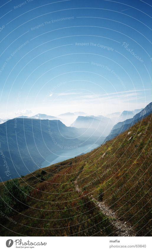 Sky Blue Mountain Dream Lanes & trails Lake Landscape Fog Infinity
