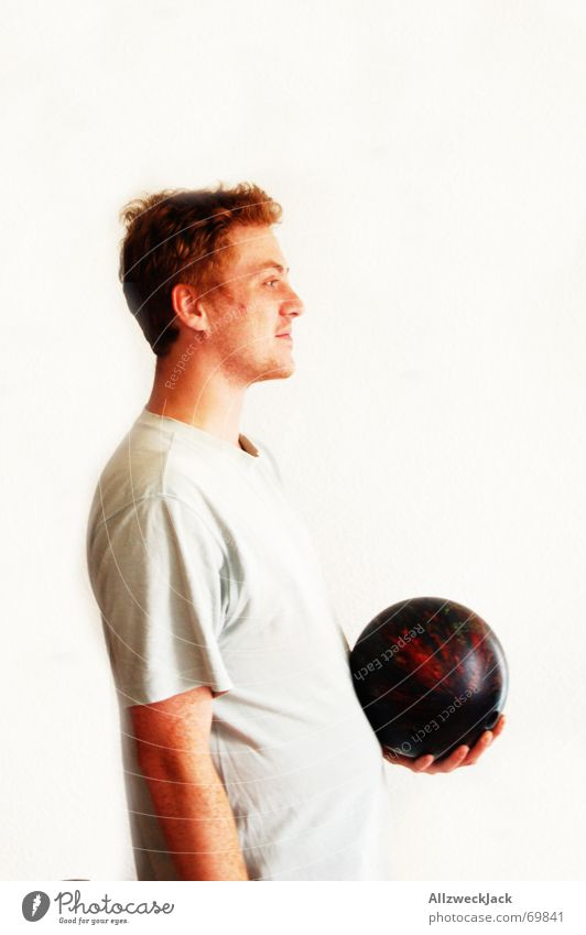 Man Freckles Red-haired Bowling Bowling ball Bright background