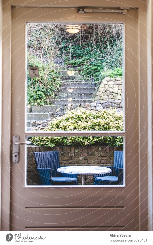 garden door Nature Plant Bushes Ivy Garden House (Residential Structure) Wall (barrier) Wall (building) Stairs Door Relaxation Sit Blue Brown Yellow Gray Green