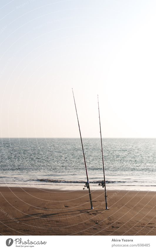Fishing at the sea Leisure and hobbies Fishing (Angle) Landscape Sand Water Sky Horizon Waves Coast North Sea Ocean Relaxation Wait Wet Blue Brown Turquoise