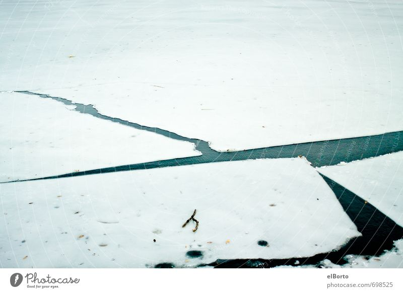 Green White Water Cold Lake Ice Frost Firm Crack & Rip & Tear Sharp-edged Broken Divide Stagnating Breakage