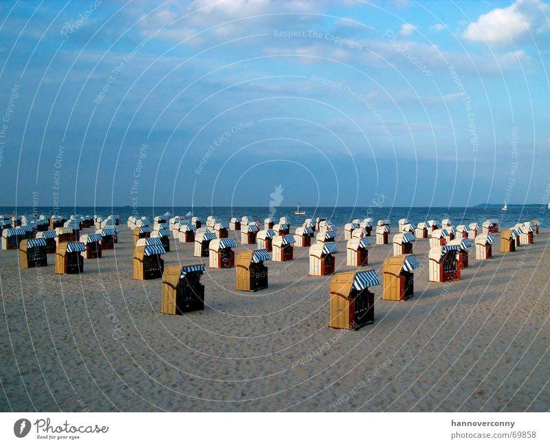 Travemünde Beach 2 Beach chair Clouds Twilight Horizon Calm Relaxation Army Ocean Earth Sand Peace Sky Far-off places
