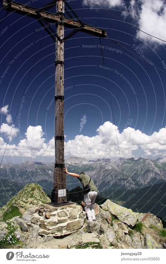 Sky Blue Clouds Mountain Hiking Vantage point Climbing Alps Peak Austria Mountaineering