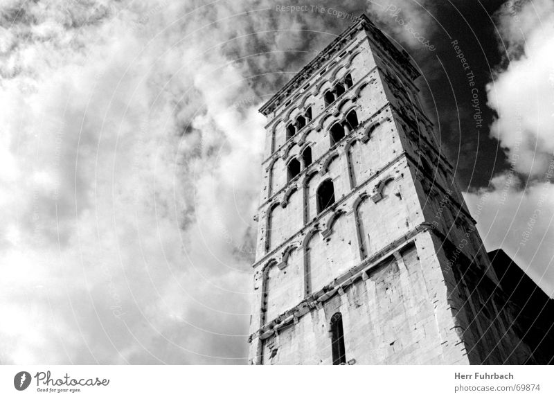 Lucca Tower Tuscany Clouds Black & white photo black-white Sky Contrast