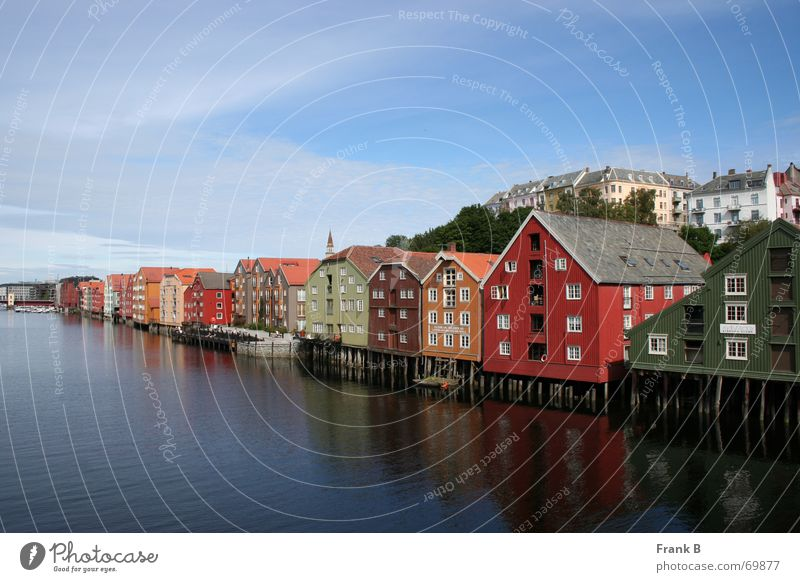 Trondheim houses House (Residential Structure) Warehouse Multicoloured Waterway Traffic infrastructure North Town Norway Scandinavia Appealing Historic