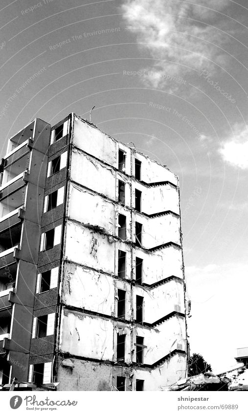 White Summer Dark Gray Bright Gloomy Creepy Balcony Leipzig Ruin East Dismantling Prefab construction 2006 Pedestrian precinct Gray scale value