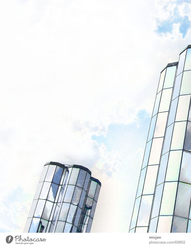 Sky White Blue Clouds Window Building Bright 2 High-rise Tall In pairs Factory Roof Tower Mirror