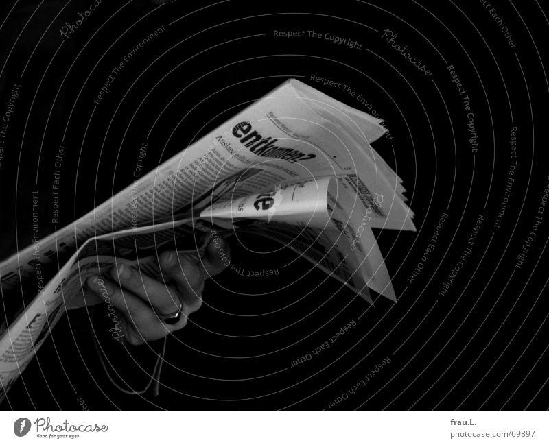 Human being Hand Dark Business Circle Reading Newspaper Information Media Magazine Print media Inform Journalism Heading