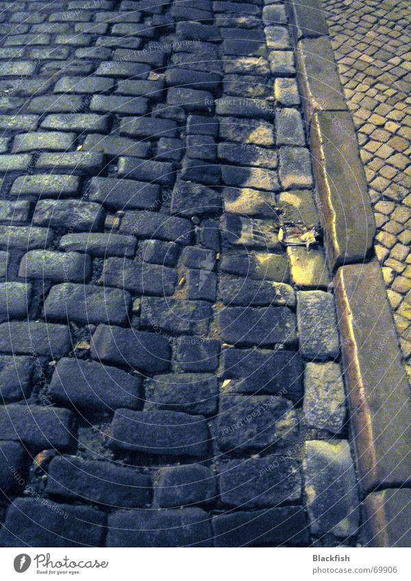 Black Street Dark Gray Lanes & trails Fear Romance Sidewalk Cobblestones Paving stone Portugal Curbside Resume Lisbon Curbstone