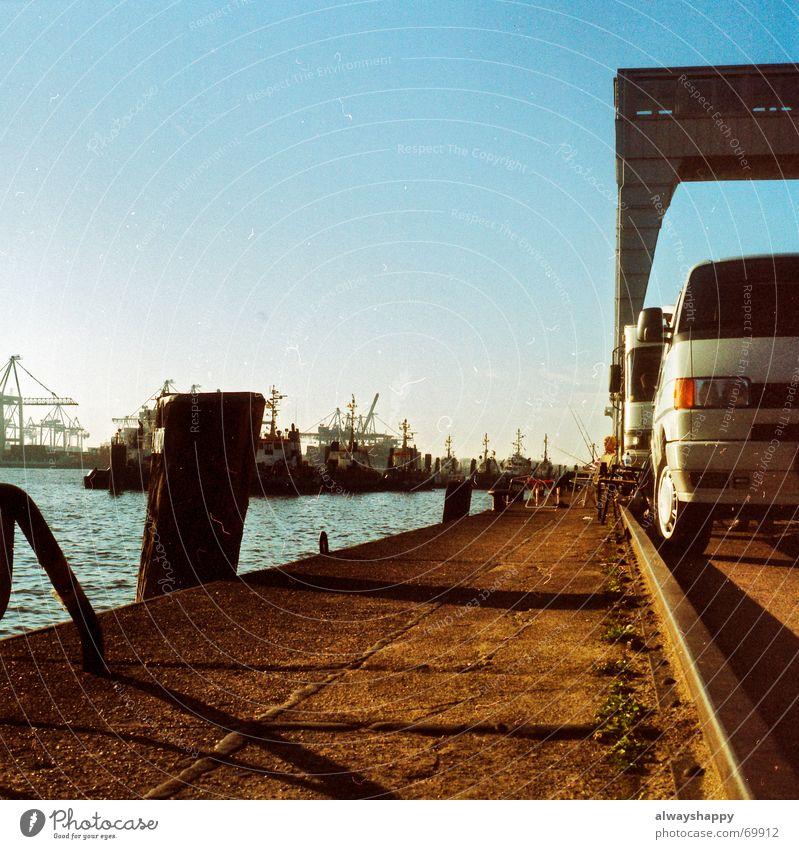 Sun Relaxation Autumn Hamburg River Harbour Analog Trashy Elbe Angler Mobile home Medium format Tug