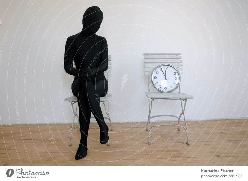 Waiting time 1 Human being Art Sculpture Sit Brown Gray Black White Emotions Prompt Room Chair Clock Minute hand Time Hour hand Past Present Day Future Patient