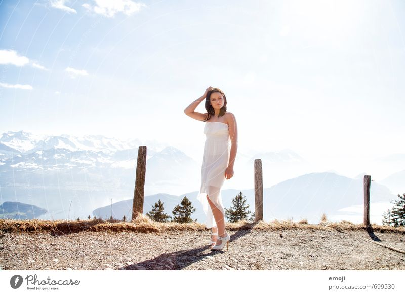 panorama Feminine Young woman Youth (Young adults) 1 Human being 18 - 30 years Adults Fashion Dress Bright White Colour photo Exterior shot Day Panorama (View)