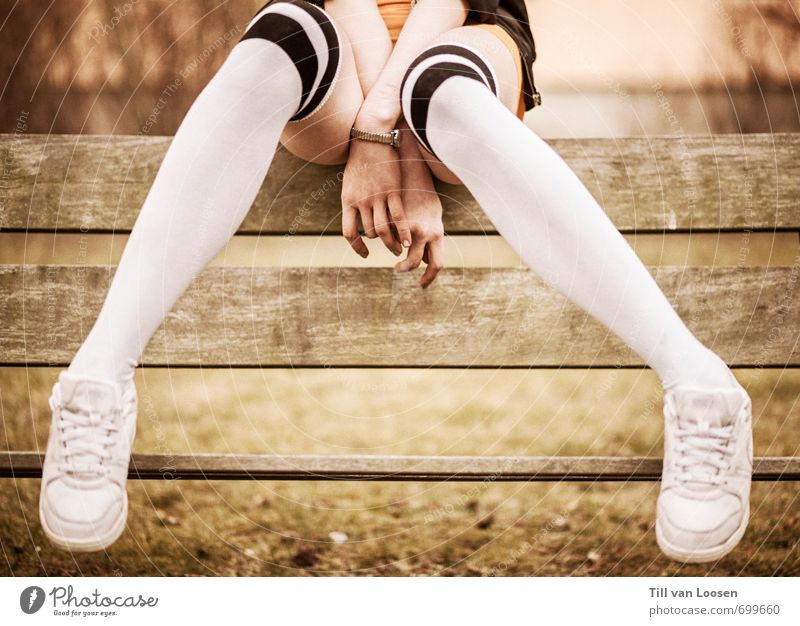 I was a teenage teenager Feminine 1 Human being 13 - 18 years Child Youth (Young adults) Park Fashion Stockings Accessory Sneakers Wood Sit Retro Athletic