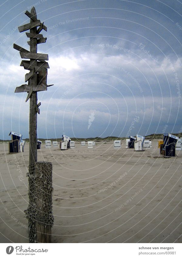 Where if not here Ocean Storm Beach Clouds Gray Nature Beach chair Wood Direction White Yellow Red Lanes & trails Rain Thunder and lightning Blue sea Sand Water