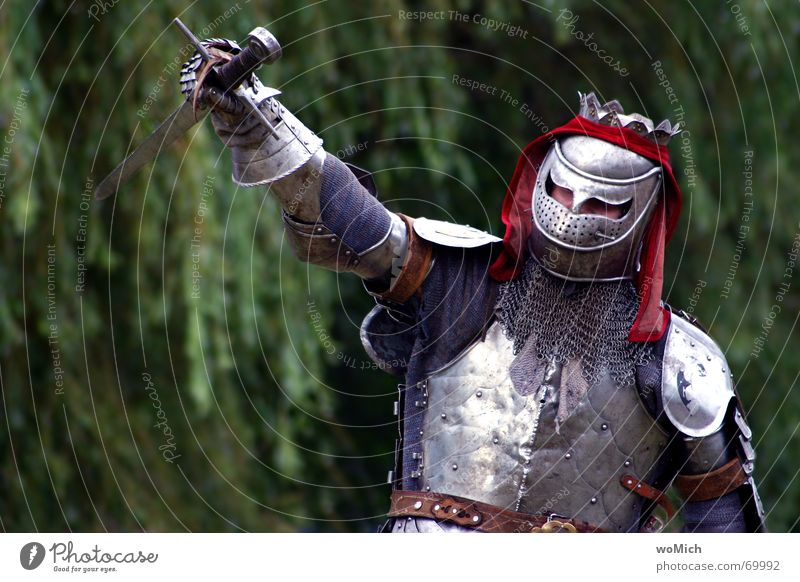 triumphant Success Battle Time travel Man Exterior shot Knight Armour knightly Medieval times medieval market speculum tournament crusade Past Pride
