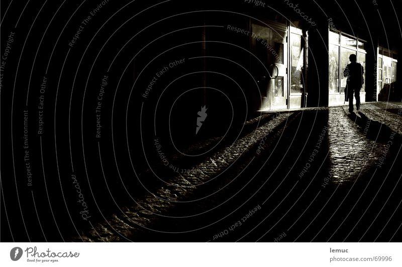 daytime course Dark Night Black Light Reflection Shop window Town Passage White Graffiti Human being Shadow Silhouette Stupid